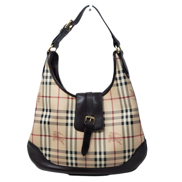 Auth Burberry Canvas Leather Hobo Shoulder Bag